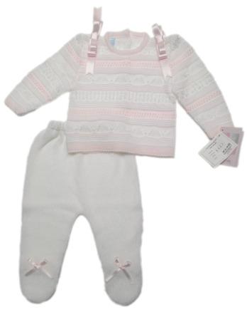 Conjunto de bebé rosa y blanco de perlé