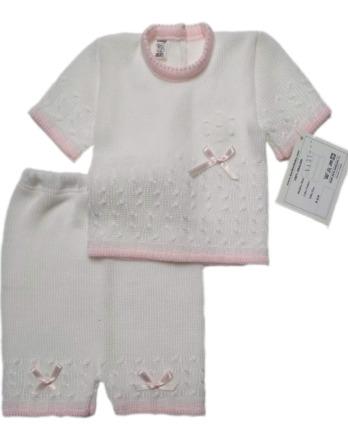 Conjunto de niña blanco pantalón corto de perlé1131