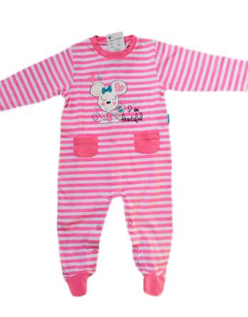 Pelele de niña bebé m/l con rayas fucsia16109058