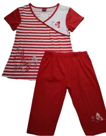 Conjunto de niña verano m/c leggings pirata rojos 1766