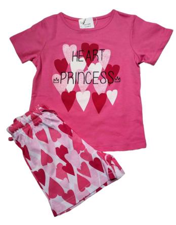 Pijama de niña m/c corazones fucsia19177050