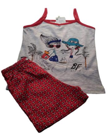 Pijama de niña tirantes teja y gris19177073
