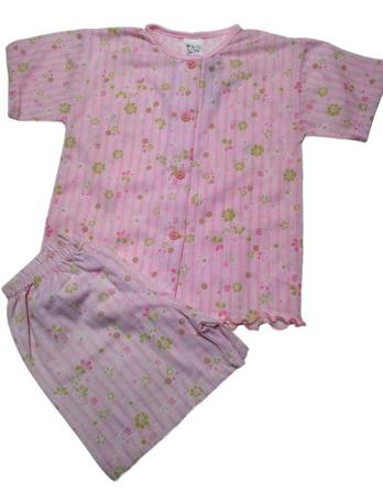 Pijama de niña m/c rosa abotonado abierto6414