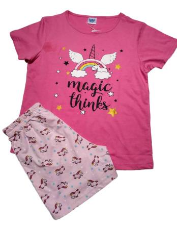 Pijama de niña m/c unicornio rosa19177556