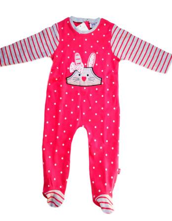 Pelele de niña bebé m/l conejo fucsia192860455