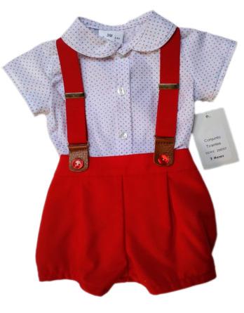 Conjunto de bebé niño de piqué rojo con tirantes20037