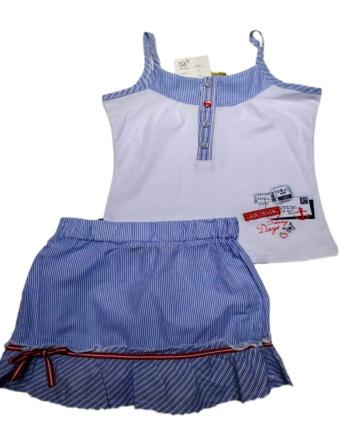 Conjunto de niña verano falda rayitas azules 2361