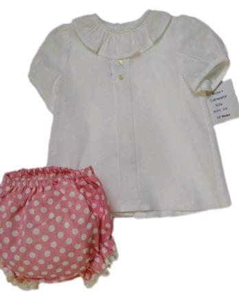Conjunto de bebé niña topos crudo y rosa 318