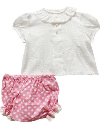 Conjunto de bebé niña topos crudo y rosa