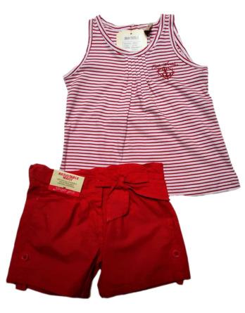 Conjunto de niña verano tirantes marinero rojo 38212