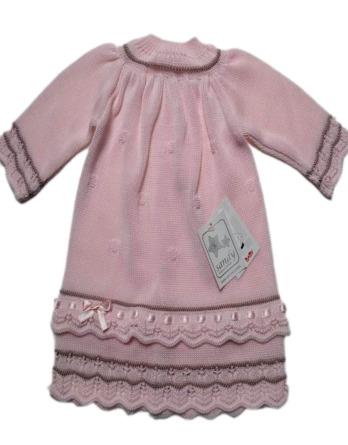 Vestido de niña manga larga rosa de perle 404