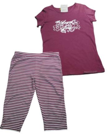Conjunto de niña verano m/c legging morado rayas pirata 4126