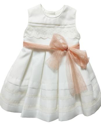Vestido de niña blanco roto con lazo coral 4424