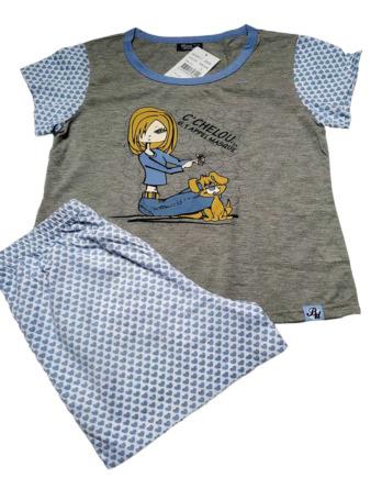 Pijama de niña m/c azul y gris 49306