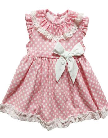 Vestido de bebé niña topos crudo y rosa50021