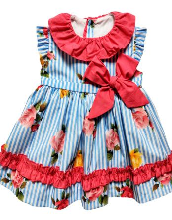 Vestido de niña flores y rayas azules 50080