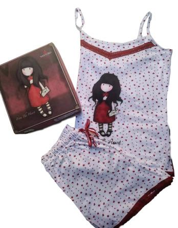 Pijama de mujer verano tirantes corazones Santoro 509620