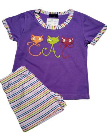 Pijama de niña m/c morado pantalón corto rayas53602