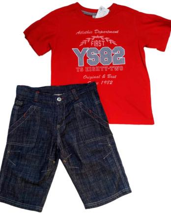 Conjunto de niño verano m/c rojo vaquero pirata 5430
