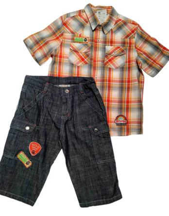 Conjunto de niño verano camisa cuadros vaquero pirata 5438