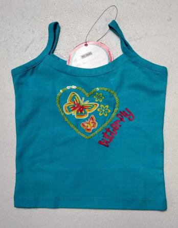 Camiseta de niña tirantes azul y verde lima611643