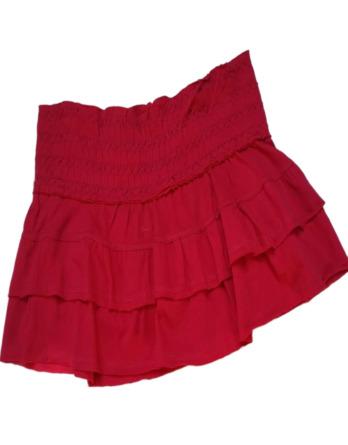Falda pantalón de niña de volantes fucsia