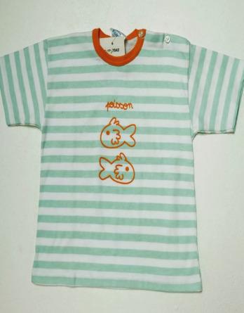Camiseta de niño verano m/c rayas verdes7042