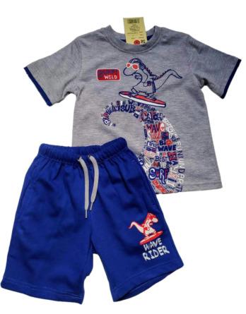 Conjunto de niño verano m/c dragón azulón y gris 7409