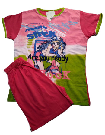 Pijama de niña m/c fucsia75215