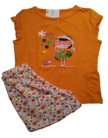 Pijama de niña m/c naranja con flores76005