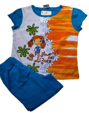 Pijama de niña m/c azulón76006