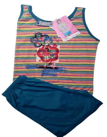Pijama de señora verano tirantes rayas turquesa 7674