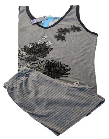 Pijama de mujer verano tirantes gris 7681