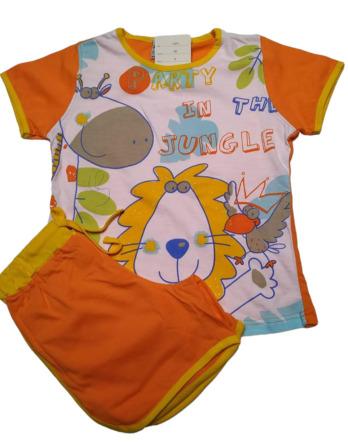 Pijama de niña m/c león naranja79014