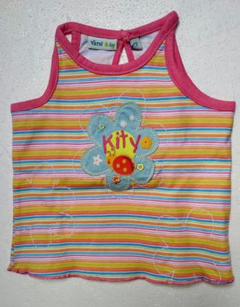 Camiseta de bebé niña verano tirantes rayas 8071