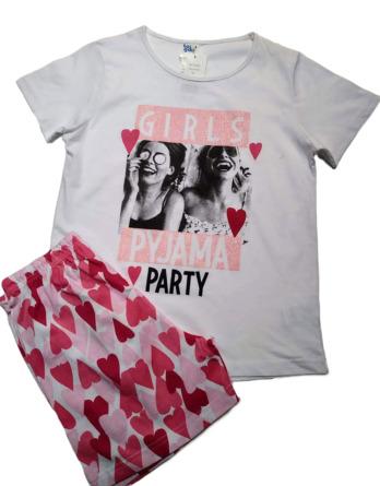 Pijama de niña m/c corazones blanco 19177551