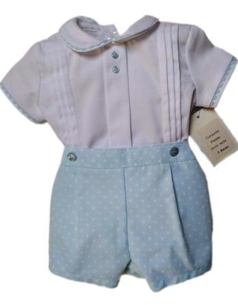 Conjunto de bebé niño de piqué topos turquesa 9234