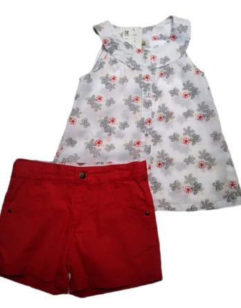 Conjunto de niña verano camisa sin mangas flores 9346