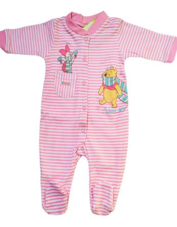 Pelele de niña bebé m/l abierto rayas rosas Winnie the Pooh