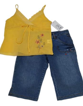 Conjunto de niña tirantes amarilla con vaquero pirata9921