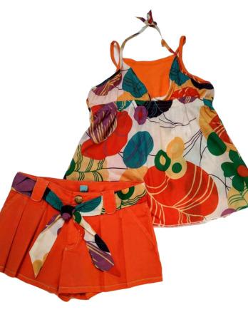 Conjunto de niña tirantes con pantalón corto naranja9951