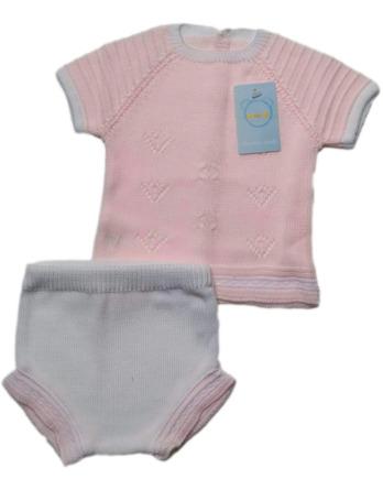 Conjunto de niña corto rosa y blanco de perléB917