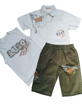 Conjunto de niño verano camisa+camiseta pantalón pirata BC863