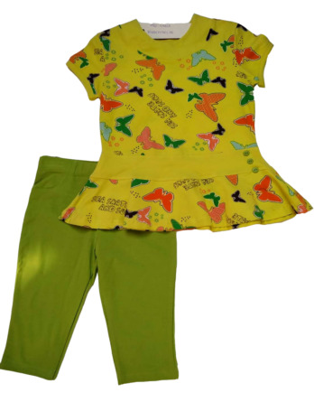 Conjunto de niña m/c leggings pirata verde lima CIGALA