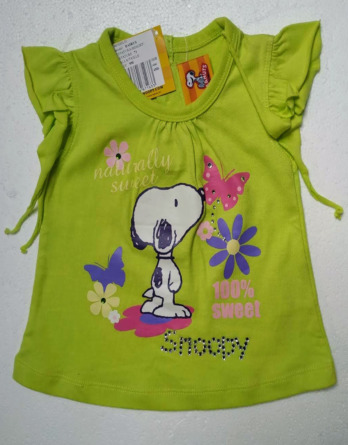 Camiseta de niña m/c Snoopy verde limaDAIRUS