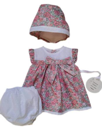 Jesusito de bebé niña florecillas rosas con braguita y capotaDF601