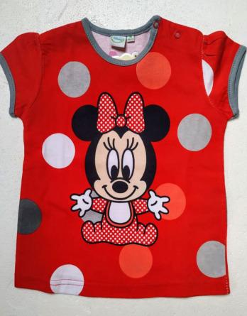 Camiseta de niña m/c Minnie lunares rojosE03167