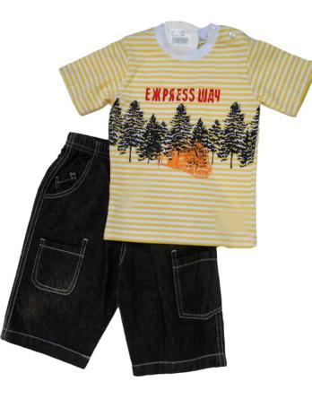 Conjunto de bebé niño vaquero pirata con camiseta rayas amarillas11253