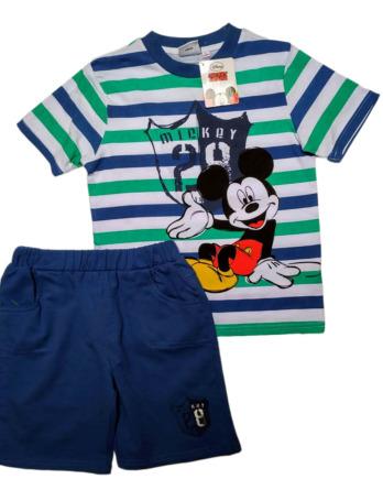 Conjunto de niño verano m/c Mickey rayas azulón N04143