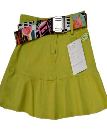 Falda de niña con volante verde lima y cinturónN2007